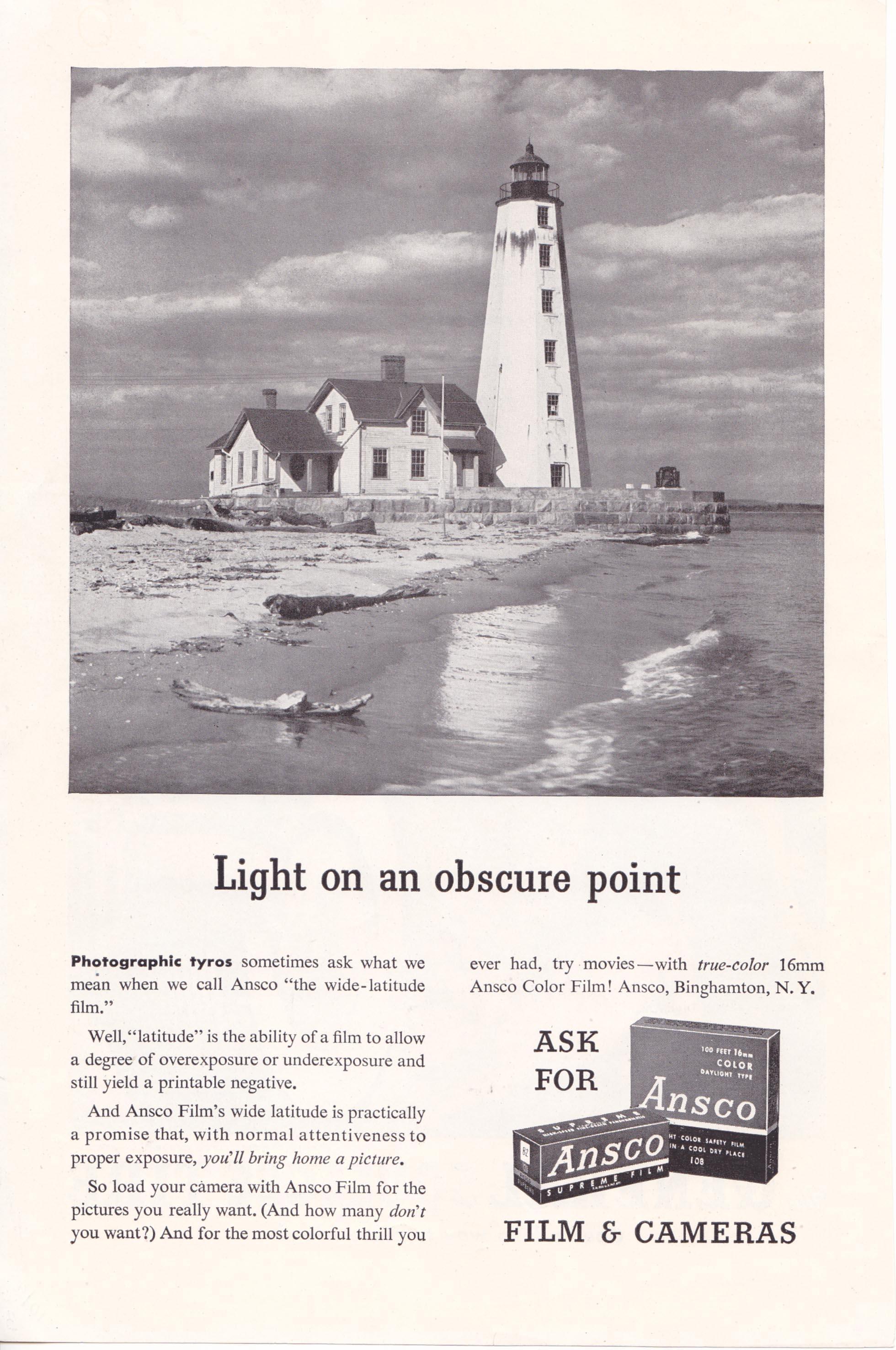Lynde Point Lighthouse 1947 Ansco Advertisement