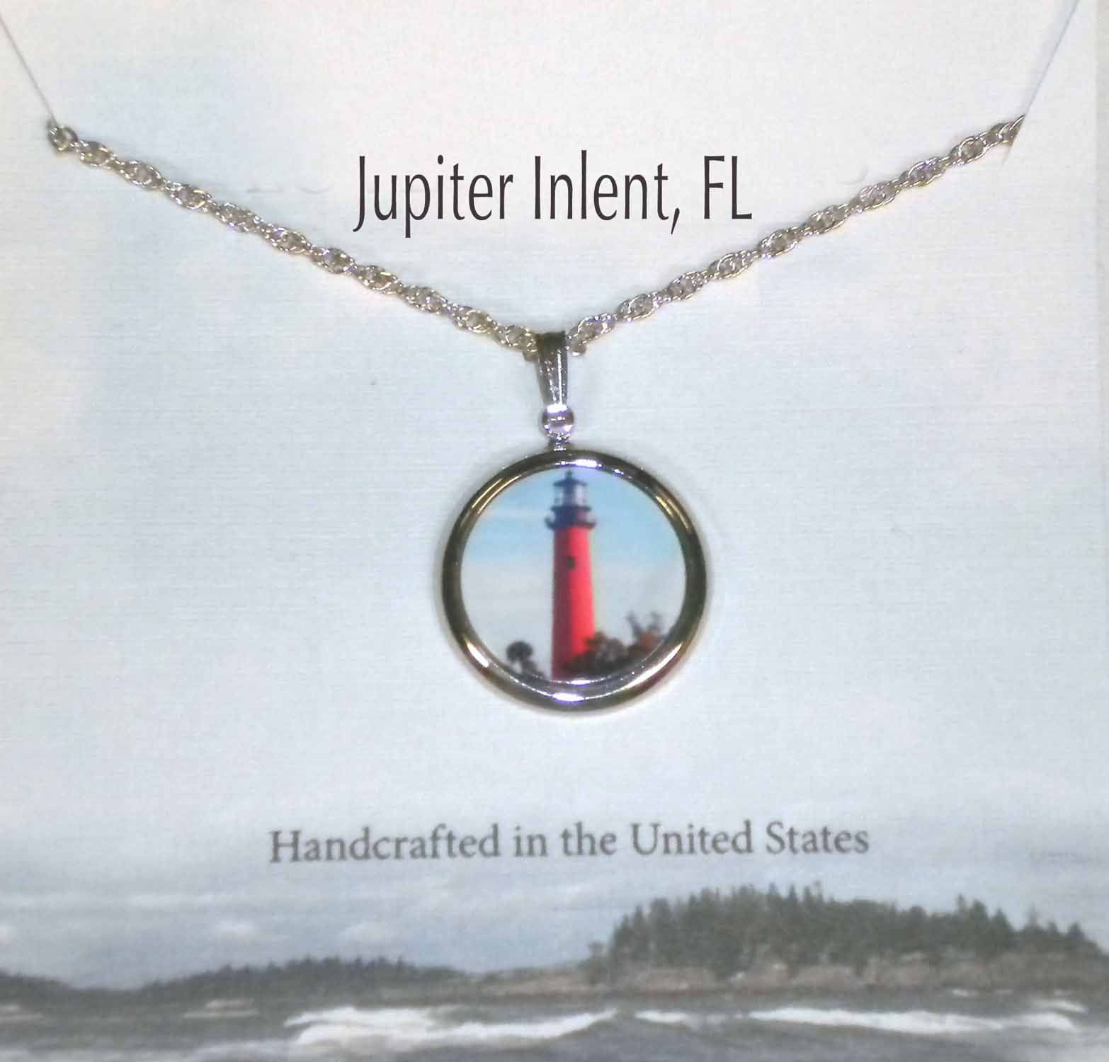 Jupiter Inlet Light, FL Silver Pendant With Chain